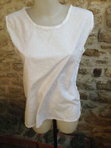 TERRACOTTA haut femme debardeur polyester coton blanc Taille 40