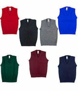 NEW-KIDS-BOYS-GIRLS-SCHOOL-UNIFORM-KNITTED-V-NECK-SLEEVELESS-TANK-TOP-JUMPER