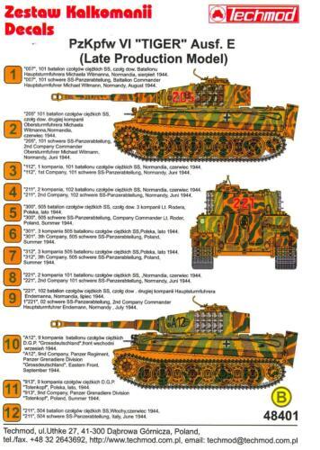 Techmod Decals 1//48 PzKpfw VI TIGER E TANK LATE PRODUCTION