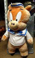 "Porky Pig Plush Doll Sailor Looney Tunes Seaman 1998 Military Cartoon 15"""