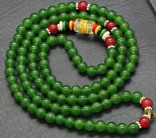 6mm Tibetan Buddhism 108 Green Jade Prayer Bead Mantra Mala Necklace/Bracelet