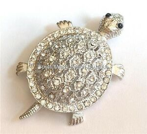 Crystal-Sea-Life-Turtle-Necklace-Pin-Brooch-Pendant-Island-Nautical-SilverPlated