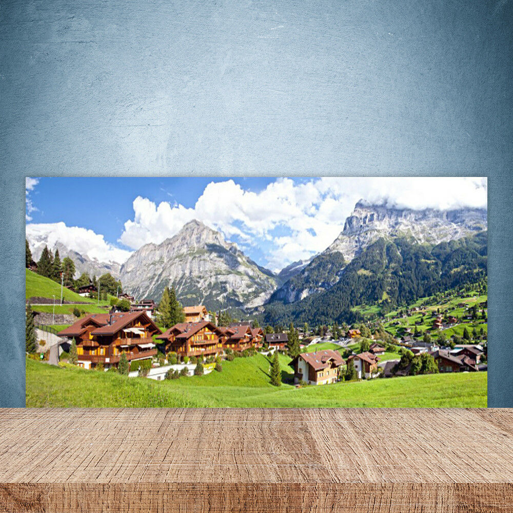 Cupboard kitchen glass wall panel 100x50 landscape mountains houses
