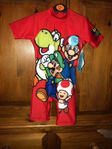 Super Mario Sun Protection Swimsuit Swim Outfit 2-3 BNWT