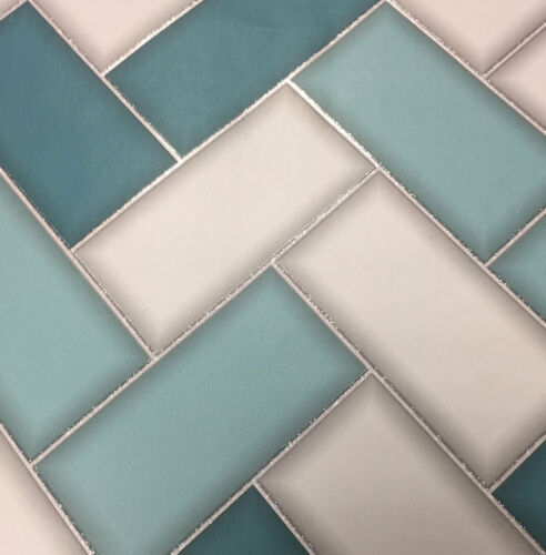 3D Chevron Tile Wallpaper Geometric Glitter Sparkle Teal Grey Holden Decor