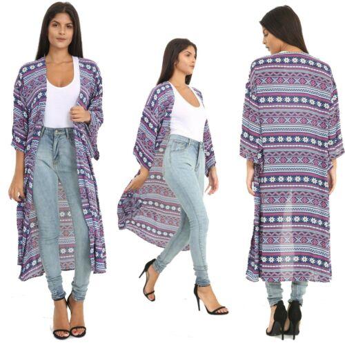 Women/'s Long Kimono Cardigan Aztec Print Long Sleeve Holiday Beach Wear 8-14