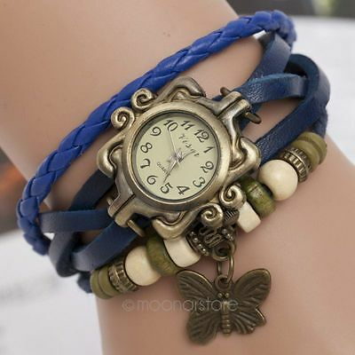 Fashion Butterfly Pendant PU Leather Weave Ladies Bracelet Quartz Wrist Watch BD