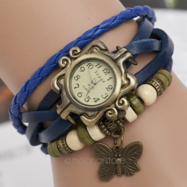 Retro Weave Around PU Leather Bracelet Watch Fashion Woman Quartz Wrist Watch PJ