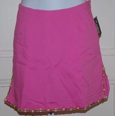 Golftini Nwt Women's Fuchsia Pink W Floral Ribbon Trim Cotton Stretch Skort Sz 4 Women's Clothing