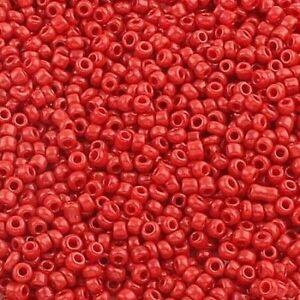 Rocailles-Perlen-2mm-Glas-Rot-Opak-450g-Schmuck-Basteln-Seed-Beads-A25