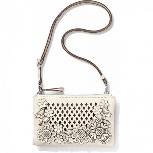 NWT Brighton TIVOLI TRELLIS White Leather Pouch Purse Bag Laser Flower MRSP $185