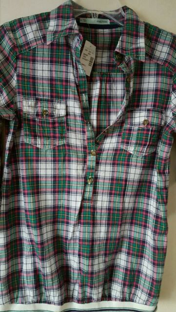 NWT MAURICES Multi-color Plaids Button 3/4 Length Sleeve Shirt size S