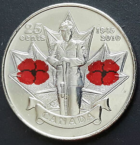 Canada WWI /& WWII Remembrance Day Complete Set Of Poppy 25 Cent Coins A Beauty!