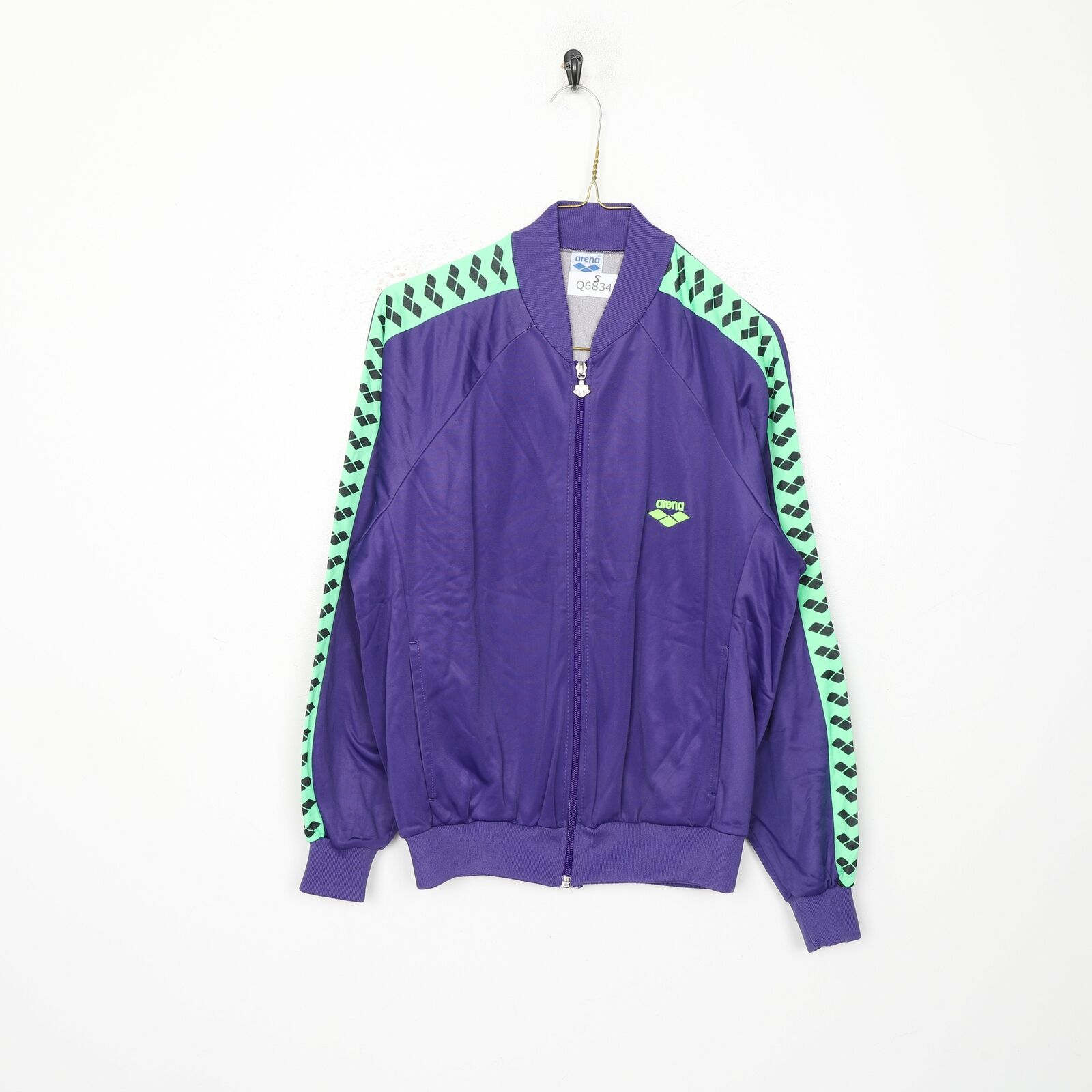 90s ARENA Tape Logo Tracksuit Top Jacket Purple | Small S