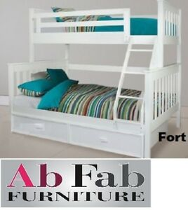 Fort Single Double White Timber Trio Bunk Bed And Trundle Ebay