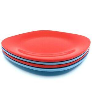 "Gibson Elite Set Of 4 Melmac 8"" Plates Square Salad Plates 2 Blue 2 Red Retro"