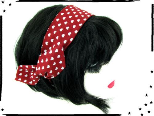 Draht Haarband rot Herz Rockabilly  Pin up Retro Herzen