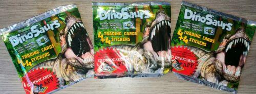 4 cartas y 4 Pegatinas varios para recoger Paquete De Tarjetas comerciales Dinosaurio Sellado