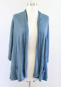 Angel of the North Anthropologie Blue Linen Blend Tiered Cardigan Sweater Size S
