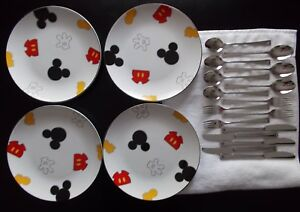 Image is loading DISNEY-MICKEY-MOUSE-BODY-PARTS-DINNER-PLATES-DISHES- & DISNEY MICKEY MOUSE BODY PARTS DINNER PLATES / DISHES u0026 SILVERWARE ...