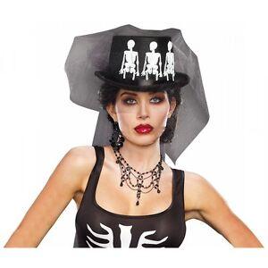 Image is loading Voodoo-Priestess-Top-Hat-Adult-Womens-Skeleton-Halloween- e43aee97a0e