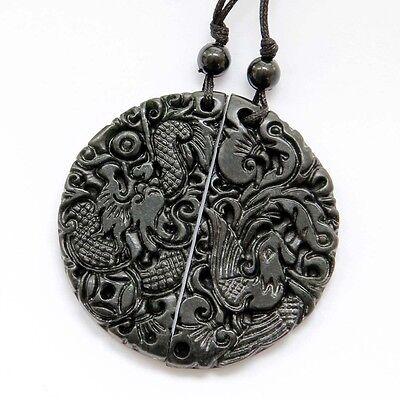 Lucky Dragon Phoenix Pair Of Black Green Jade Amulet Pendant