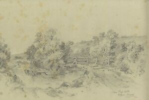 Ralph Stubbs, Fording the Beck, Sandsend – Late 19th-century graphite drawing