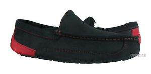 a89d54c387e UGG Ascot Black Samba Red Suede Fur Slippers Mens 10 (Fits size 9 ...