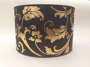 "10/"" Black Gold Empire Flowered Fabric Lampshade Table Lamp Light Shade Handmade"