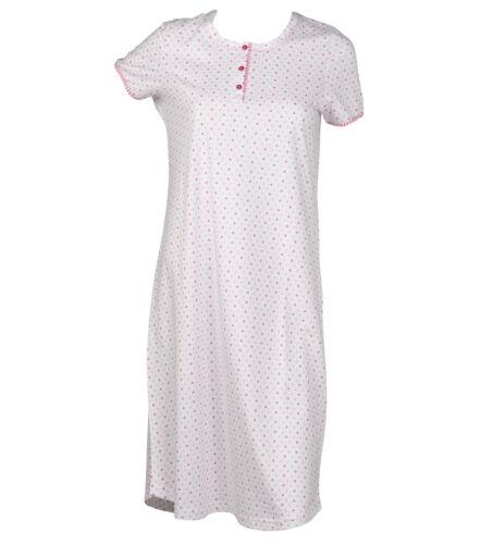 Night Dress Womens 100/% Cotton Short Sleeve Spotty Nighty Striped Trim Nightwear
