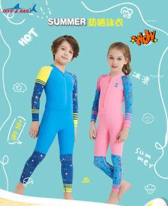 One Piece Kids Girls Boys Swimsuit Full Long Sleeve Swimwear Diving