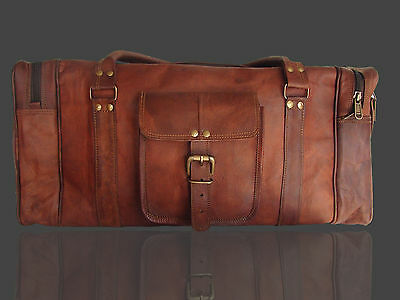 New Large Brown Leather Gym Bag Travel Carry On Tote Duffle Satchel Mens Womens