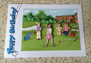 Image Is Loading Handmade Birthday Card 3D Decoupage Humourous Female Golf
