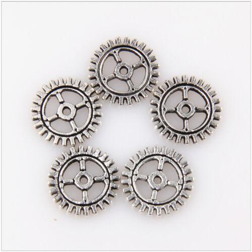 100Pcs Double Sided Gear Tibetan Silver Bronze Pendants 10mm//12mm EIF0005