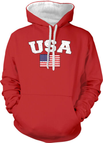 USA United States Faded Distressed Flag Country Pride 2-tone Hoodie Pullover