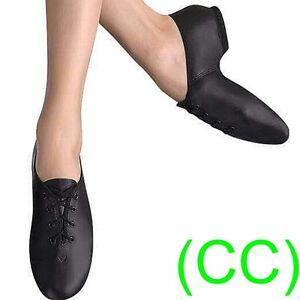 JAZZ-DANCE-SHOES-Black-unisex-Leather-split-suede-sole-pumps-irish-hard-jig-CC