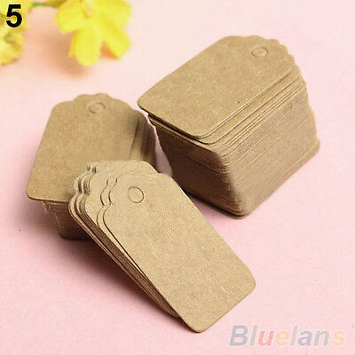 Attractive Blank Brown Kraft Paper Hang Tags Wedding Favor Label Gift Cards 100