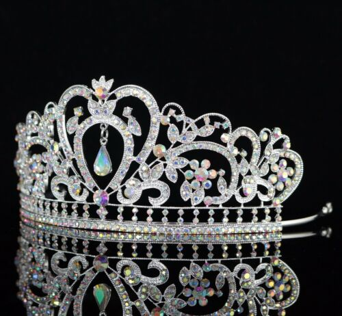 Heart Floral AB Clear Crystal Rhinestone Tiara Crown Bridal Pageant Prom T10AB