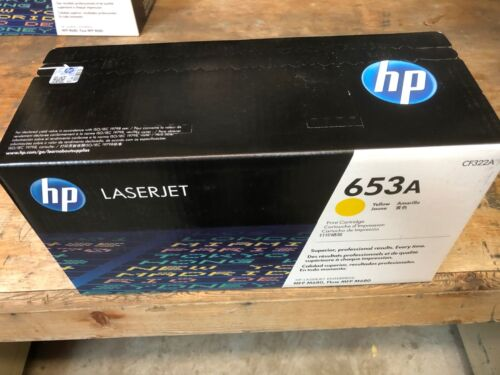 HP 653A YELLOW Toner Cartridge Brand New 653A CF322A Sealed Retail HP Box.