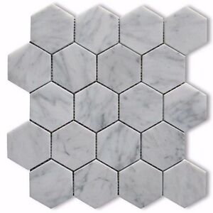 Image Is Loading Carrara White Italian Carrera Marble Hexagon Mosaic Tile