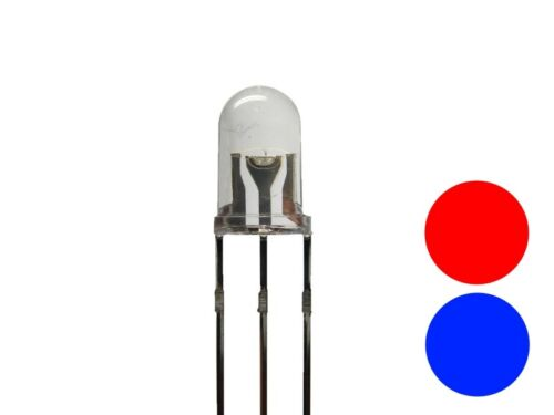 blau 3-Pin gemeinsame Anode Plus S282-10 Stück DUO LEDs 5mm Bi-Color rot