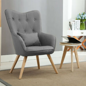 Grey Linen Fabric Wing High Back Accent Chair Armchair
