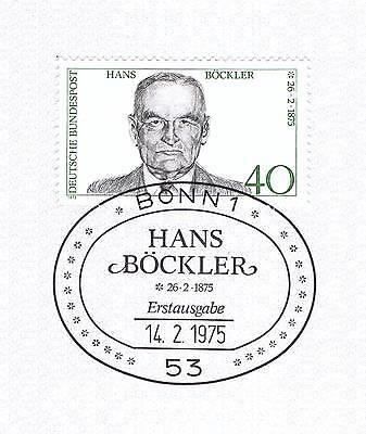 Brd 1975: Hans Böckler! Nr. 832 Mit Dem Bonner Ersttags-sonderstempel! 1a! 153
