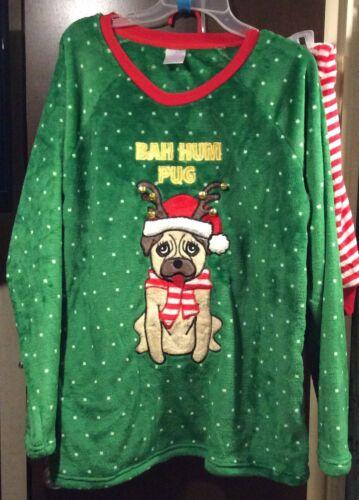 NWT Christmas Bah Hum Pug Dog Pajama Set Micro Fleece 3X 22W-24W