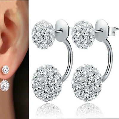 New Fashion 925 Plated Silver Double Beads Crystal Stud Earrings Women Jewelry