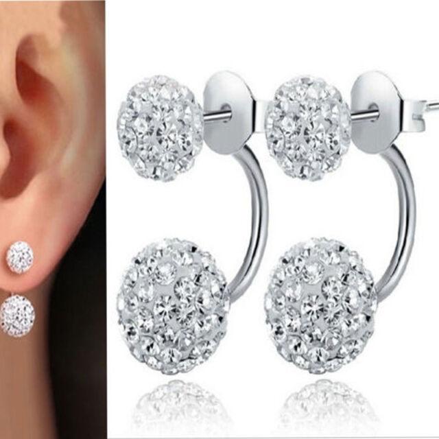 New Fashion 925 Sterling Silver Double Beads Crystal Stud Earrings Women Jewelry
