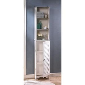 Large 65 tall white wood kitchen bathroom organizer - Tall bathroom storage cabinets with doors ...