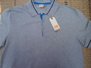 NEW-HUGO-BOSS-ORANGE-LABEL-DESIGNER-BAG-GREY-FITTED-POLO-SUIT-TIE-T-SHIRT-SMALL