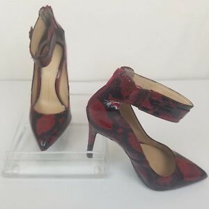 b2e7ef5bc58 Details about Gianni Bini Crafton Pumps Heels Red Cayenne Size 7M Snake  Print Ankle Zipper