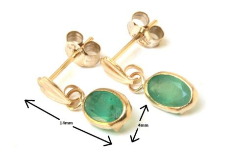 9ct Gold Emerald oval Drop earrings Gift Boxed Made in UK